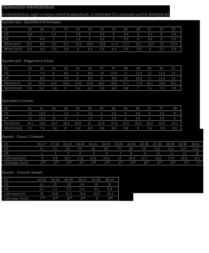 geox szandál mérettáblázat